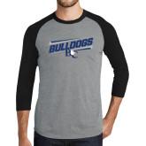 Grey/Black Tri Blend Baseball Raglan-Stencil Bulldogs