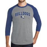Grey/Royal Heather Tri Blend Baseball Raglan-Arched Bulldogs