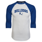 White/Royal Raglan Baseball T Shirt-Arched Bulldogs