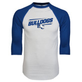 White/Royal Raglan Baseball T Shirt-Stencil Bulldogs