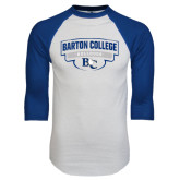 White/Royal Raglan Baseball T Shirt-Barton College Bulldogs