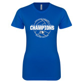 Next Level Ladies SoftStyle Junior Fitted Royal Tee-2017 Womens Volleyball Champions