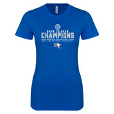 Next Level Ladies SoftStyle Junior Fitted Royal Tee-2017 Womens Volleyball Champions back to back