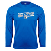 Performance Royal Longsleeve Shirt-Stencil Bulldogs