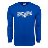 Royal Long Sleeve T Shirt-Stencil Bulldogs