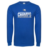 Royal Long Sleeve T Shirt-Conference Carolinas Champs - Mens Volleyball Two Tone