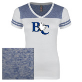 Ladies White/Heathered Deep Royal Juniors Varsity V Neck Tee-Official Logo