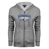 ENZA Ladies Grey Fleece Full Zip Hoodie-Barton College Bulldogs