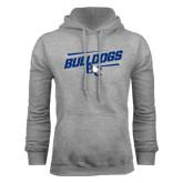 Grey Fleece Hoodie-Stencil Bulldogs
