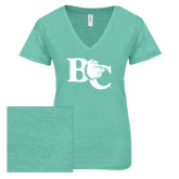 ENZA Ladies Seaglass Melange V Neck Tee-Official Logo