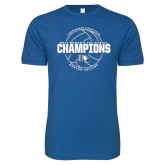Next Level SoftStyle Royal T Shirt-2017 Womens Volleyball Champions