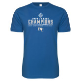 Next Level SoftStyle Royal T Shirt-2017 Womens Volleyball Champions back to back