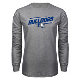 Grey Long Sleeve T Shirt-Stencil Bulldogs