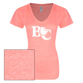 ENZA Ladies Coral Melange V Neck Tee-Official Logo