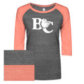 ENZA Ladies Dark Heather/Coral Vintage Triblend Baseball Tee-Official Logo