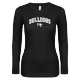 Ladies Black Long Sleeve V Neck T Shirt-Arched Bulldogs