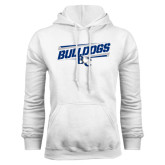 White Fleece Hoodie-Stencil Bulldogs