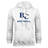 White Fleece Hoodie-Softball