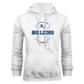 White Fleece Hoodie-Baseball Design