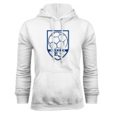 White Fleece Hoodie-Soccer Design