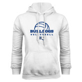 White Fleece Hoodie-Volleyball Design