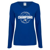 Ladies Royal Long Sleeve V Neck Tee-2017 Womens Volleyball Champions