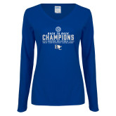 Ladies Royal Long Sleeve V Neck Tee-2017 Womens Volleyball Champions back to back
