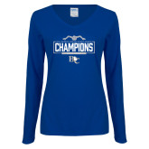 Ladies Royal Long Sleeve V Neck Tee-2018 Womens Swimming Champions