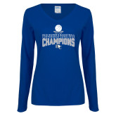 Ladies Royal Long Sleeve V Neck Tee-2018 Womens Basketball Champions