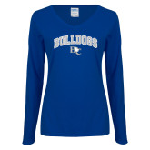 Ladies Royal Long Sleeve V Neck Tee-Arched Bulldogs
