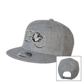 Heather Grey Wool Blend Flat Bill Snapback Hat-Official Logo