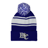 Royal/White Two Tone Knit Pom Beanie w/Cuff-Official Logo