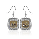 Crystal Studded Square Pendant Silver Dangle Earrings-Bryant Official Logo
