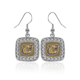 Crystal Studded Square Pendant Silver Dangle Earrings-Bulldog Head