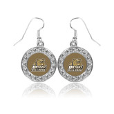 Crystal Studded Round Pendant Silver Dangle Earrings-Bryant Official Logo