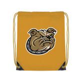 Gold Drawstring Backpack-Bulldog Head