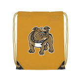 Gold Drawstring Backpack-Bulldog