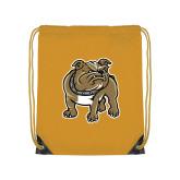 Gold Drawstring Backpack-Bulldog