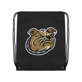 Black Drawstring Backpack-Bulldog Head