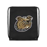 Black Drawstring Backpack-Bulldog Head