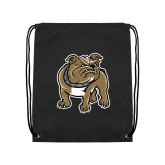 Black Drawstring Backpack-Bulldog