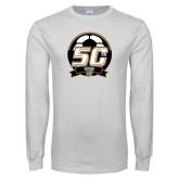 White Long Sleeve T Shirt-50th Soccer Logo