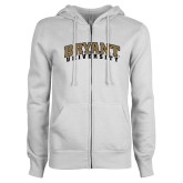 ENZA Ladies White Fleece Full Zip Hoodie-Arched Bryant University