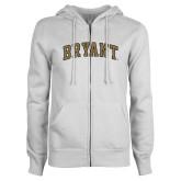 ENZA Ladies White Fleece Full Zip Hoodie-Arched Bryant