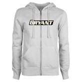 ENZA Ladies White Fleece Full Zip Hoodie-Bryant