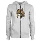 ENZA Ladies White Fleece Full Zip Hoodie-Bulldog