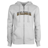 ENZA Ladies White Fleece Full Zip Hoodie-Arched Bryant University Bulldogs