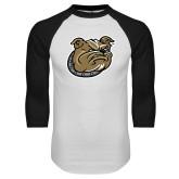 White/Black Raglan Baseball T-Shirt-Bulldog Head