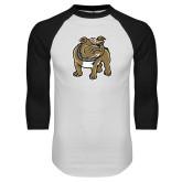 White/Black Raglan Baseball T-Shirt-Bulldog
