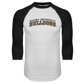 White/Black Raglan Baseball T-Shirt-Arched Bryant University Bulldogs